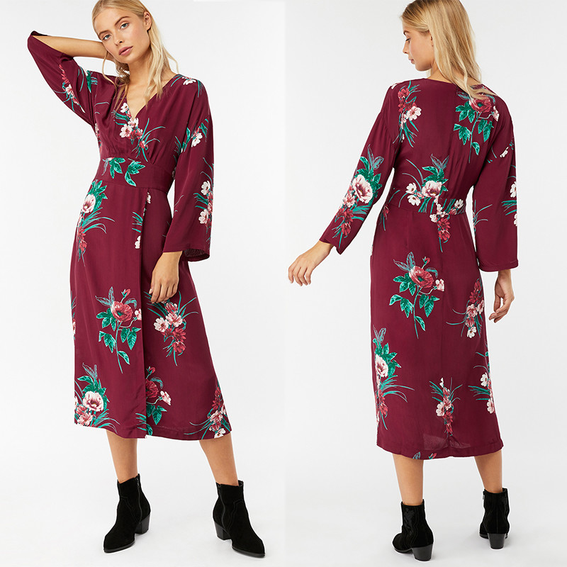 Summer Women Hot Sale Clothes Long Sleeve Print Wrap Maxi Dress Beach Women