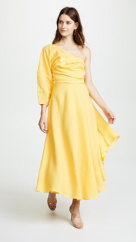 Fashion Asymmetrical Clothing One Shoulder With Long Sleeve Woman  Maxi Dress Summer